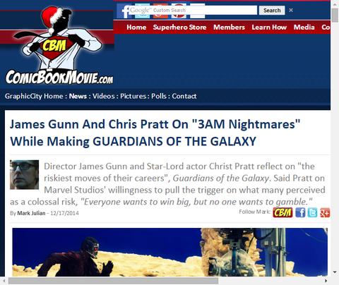 映画「ガーディアンズ・オブ・ザ・ギャラクシー」の撮影の間、ディレクターのジェームズ・ガンは眠れぬ夜があったことを明かした!