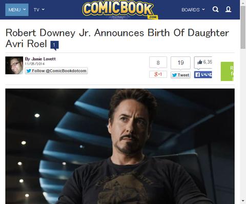 【祝】ロバート・ダウニー・Jr.が娘のアブリ・ロールの出生を発表!