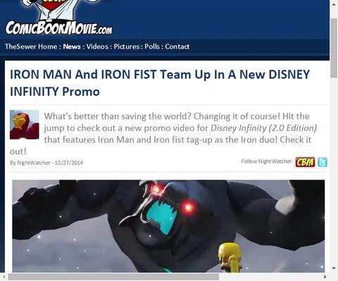 ディズニー・インフィニティのアイアンマンとアイアンフィストのチームアップによるプロモ動画が公開!