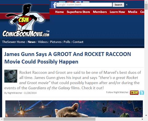 ジェームズ・ガンはグルートとロケット・ラクーンの映画がおそらく起こることができたと話す!