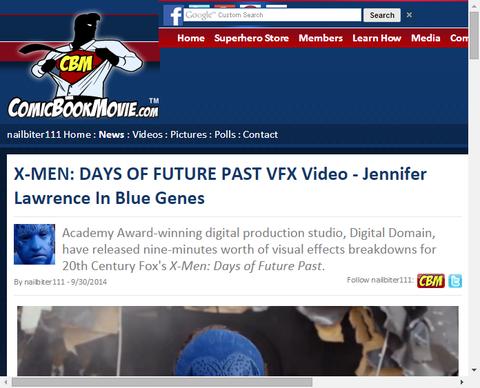 映画「X-MEN:デイズ・オブ・フューチャー・パスト」のジェニファー・ローレンス演じるミスティークのVFX映像!