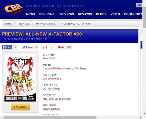 シリーズフィナーレ!ゲスト出演にスパイダーマン2099!オールニュー・X-FACTOR #20のプレビュー画像が更新!