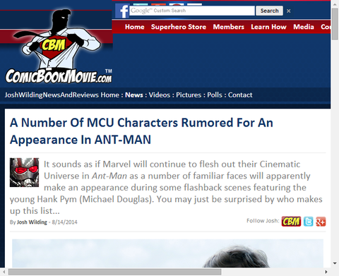 映画アントマンで出演が噂されるキャラクターとは?