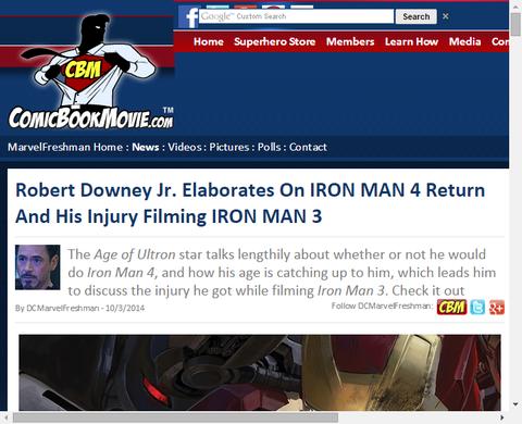 ロバート・ダウニー・Jr.がアイアンマン4の可能性にアイアンマン3の撮影での怪我について言及!