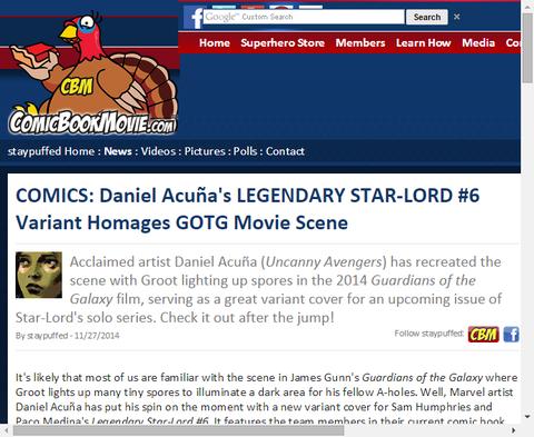レジェンダリー・スターロード #6で映画「ガーディアンズ・オブ・ザ・ギャラクシー」の1シーンをもしたヴァリアントカバー!