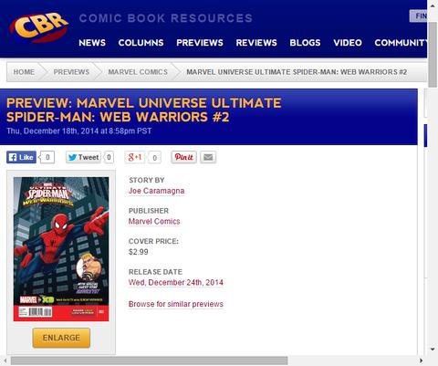 マーベル・ユニバース アルティメット・スパイダーマン:ウェブ・ウォーリア―ズ #2のプレビュー!