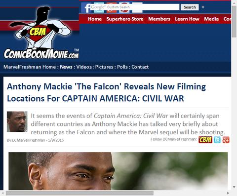 ファルコンを演じるアンソニー・マッキーが映画「キャプテン・アメリカ:シビル・ウォー」について言及!撮影場所も明かす!