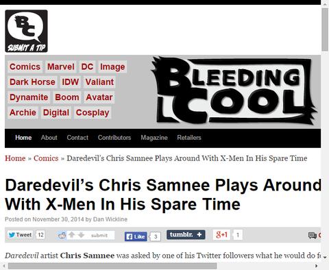 デアデビルを手掛けるクリス・サムニーが彼の余暇にX-MENを描く!