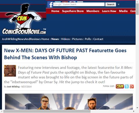 映画「X-MEN:デイズ・オブ・フューチャー・パスト」のビショップをフィーチャーしたメイキング映像が公開!