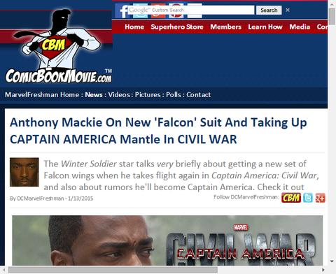 アンソニー・マッキーは新しい「ファルコン」スーツとキャプテン・アメリカ:シビル・ウォーについて言及する!