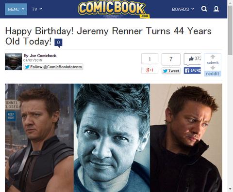 本日1月7日はジェレミー・レナーの44歳の誕生日!