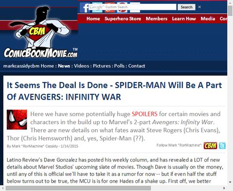 アベンジャーズ:インフィニティ・ウォーの一部としてスパイダーマンが取引される模様!さらにインフィニティ・ウォーに関する重要な噂も!
