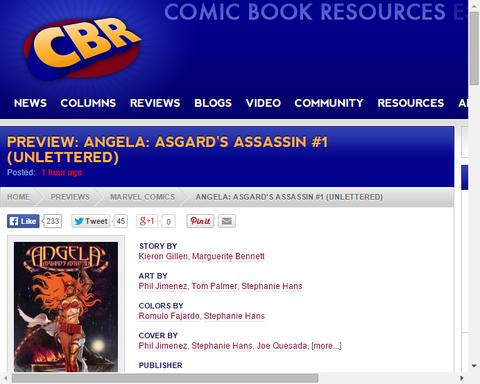 アンジェラ:アスガーズ・アサシン #1のプレビュー画像が公開!