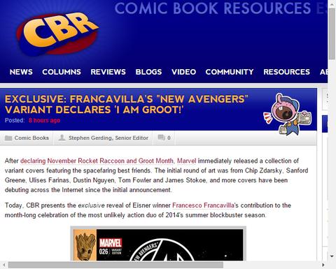 フランカヴィラによるニュー・アベンジャーズに「グルート」のヴァリアント・カバーが公開!