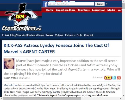 キックアス女優のリンジー・フォンセカがドラマ「エージェント・カーター」のキャストに加わる!