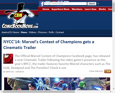 ニューヨーク・コミコンでのゲーム「マーベル コンテスト・オブ・チャンピオンズ」のトレイラーを公開!