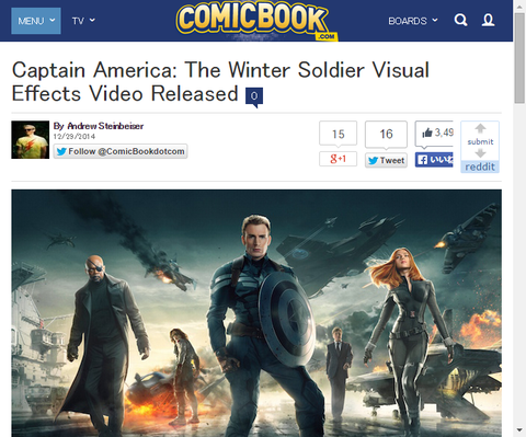 映画「キャプテン・アメリカ:ウィンター・ソルジャー」のヴィジュアル・エフェクト映像が公開!
