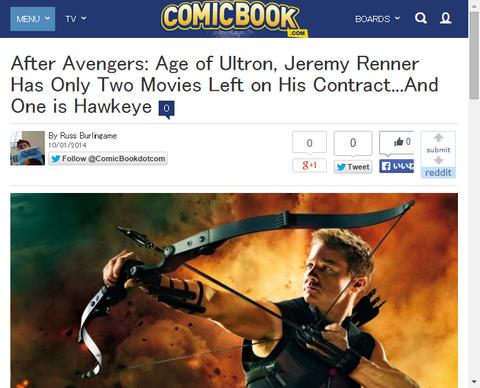 ジェレミー・レナーはアベンジャーズ:エイジ・オブ・ウルトロンの後に2つの映画を契約・・・そして一つはホークアイ!