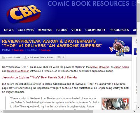アーロンとダウターマンの「ソー #1」は「ものすごい思いがけないこと」を届ける!