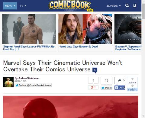 マーベルは彼らのシネマティック・ユニバースがコミック・ユニバースを追いこさないと話す!