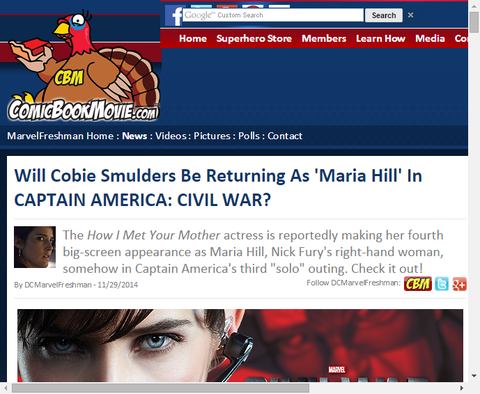 コビー・スマルダーズは映画「キャプテン・アメリカ:シビル・ウォー」で『マリア・ヒル』として帰ってくる!?