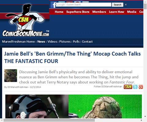 モーションキャプチャーのコーチはリブート版「ファンタスティック・フォー」のジェイミ・ベルの「ベン・グリム/シング」について話す!