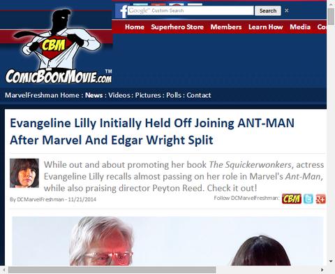 エバンジェリン・リリーはアントマンに加わるのを最初見合わせていた!