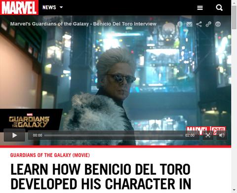 映画ガーディアンズ・オブ・ザ・ギャラクシーでコレクターを演じたベニチオ・デル・トロのインタビューが公開!
