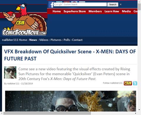 映画「X-MEN:デイズ・オブ・フューチャー・パスト」のクイックシルバーのVFXメイキングが公開!