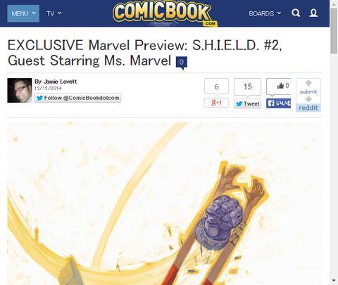 ミス・マーベルが登場するシールド #2のプレビュー画像が公開!