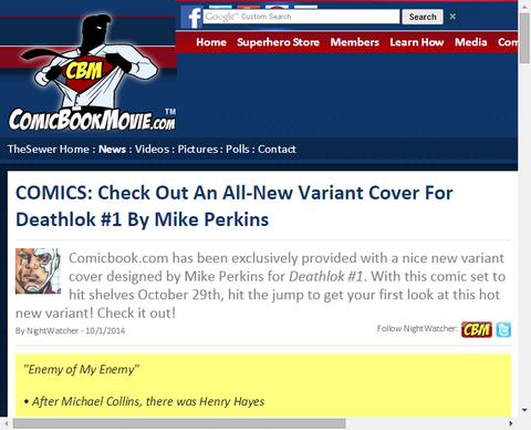マイク・パーキンスによる「デスロック #1」のヴァリアントカバー!