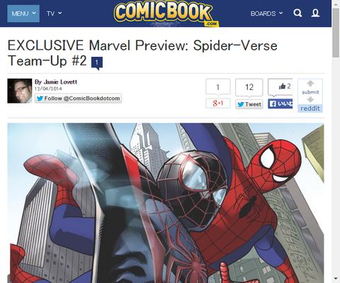 最初のTVアニメのスパイダーマンも登場!スパイダーバース・チームアップ #2のプレビュー画像が更新!