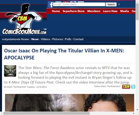 オスカー・アイザックが映画「X-MEN:アポカリプス」のタイトルヴィランを演じることについて話す!