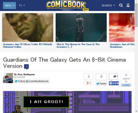 映画「ガーディアンズ・オブ・ザ・ギャラクシー」の8ビットゲーム風動画が公開!オウサム・ミックス VOl.1も8ビット音楽に!