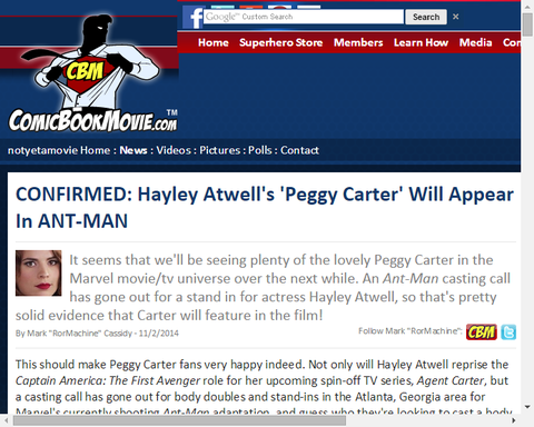 『ペギー・カーター』は映画「アントマン」に登場することが確かめられる!