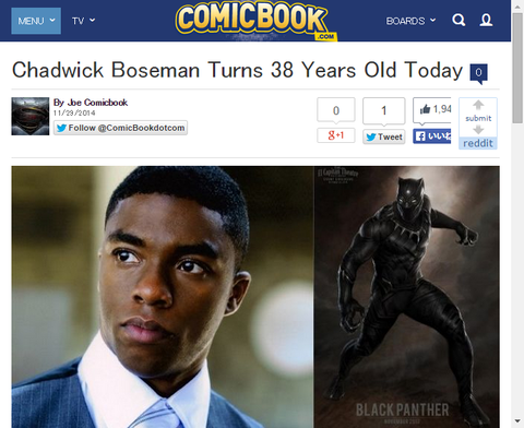 本日11月29日はブラック・パンサーを演じるチャドウィック・ボーズマンの誕生日!