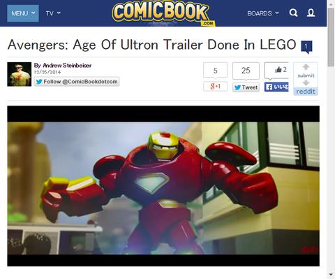 レゴで再現された映画「アベンジャーズ:エイジ・オブ・ウルトロン」がすごい!