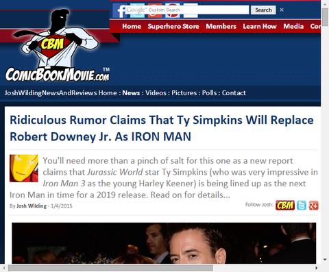 ばかげた噂はタイ・シンプキンスがアイアンマンとしてロバート・ダウニー・Jr.に取って代わると主張する!