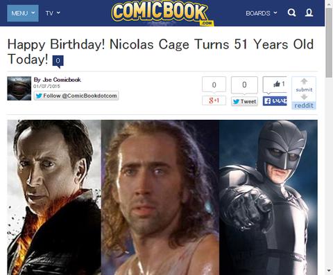 本日1月7日はニコラス・ケイジの51歳の誕生日!