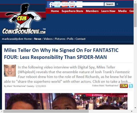 マイルズ・テラーは映画「ファンタスティック・フォー」と契約したかをスパイダーマンより責任が少ないからと明かす!