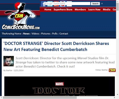 ディレクターのスコット・デリクソンがベネディクト・カンバーバッチを主演させている「ドクター・ストレンジ」の新しいアートを公開!