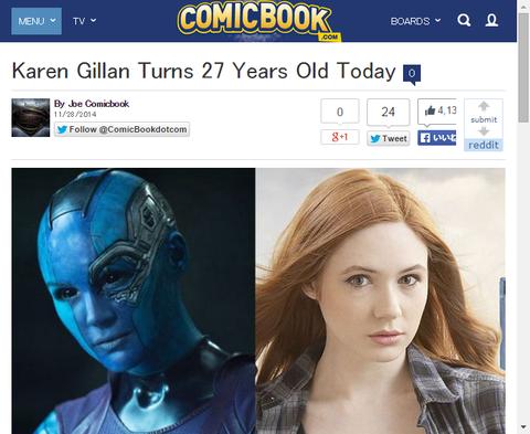本日はネビュラを演じたカレン・ギランの27歳の誕生日!