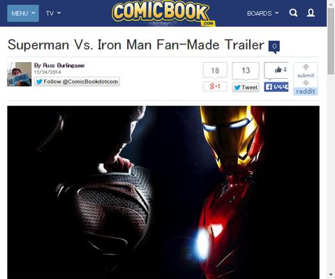 ファンメイドによるスーパーマン VS. アイアンマンのトレイラーが公開!