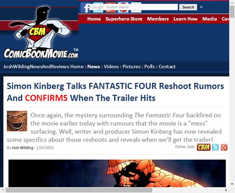サイモン・キンバーグがリブート版「ファンタスティック・フォー」の再撮影の噂とトレイラーの公開日を確認する!