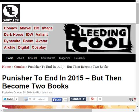 2015年パニッシャー誌が終わる、しかし2冊の本になる!