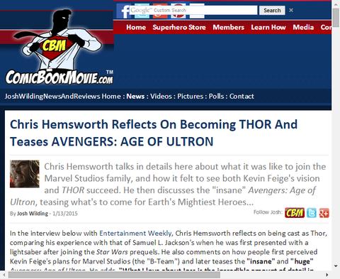 クリス・ヘムズワースは映画「アベンジャーズ:エイジ・オブ・ウルトロン」について言及!