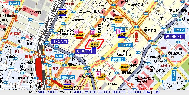 銀座周辺駐車場地図