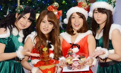 【ニュース/AKB48】ミニスカートの衣装で美脚を魅せた、AKB48大島優子&高橋みなみ&峯岸みなみ&横山由依がミニスカサンタに♪「今年のクリスマスこそは…」