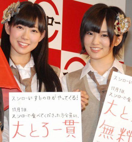 【ニュース/NMB48】山本彩と渡辺美優紀が全国339店舗のイメージキャラクター発表会見!
