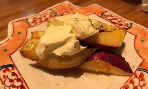サツマイモのクリームチーズ乗せ